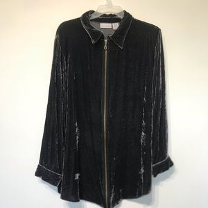 Soft surroundings crushed velvet zip front shirt